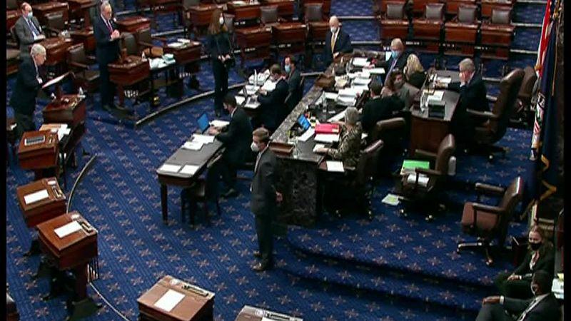 The Biden White House's America Rescue Plan gets through the Senate on a partisan vote.