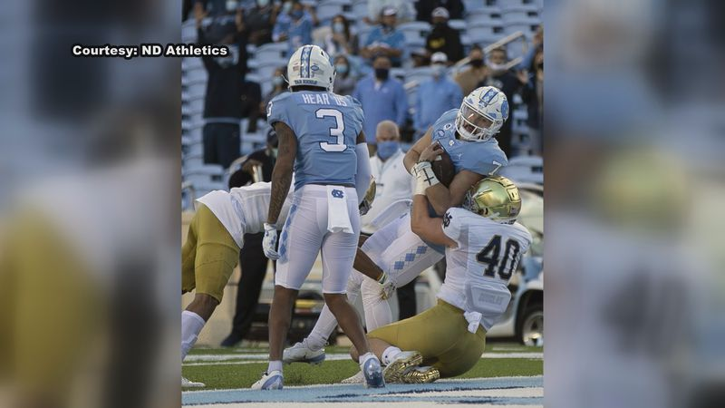 Notre Dame held the Tar Heels to just 78 yards in the second half. Sam Howell was sacked 6 times.