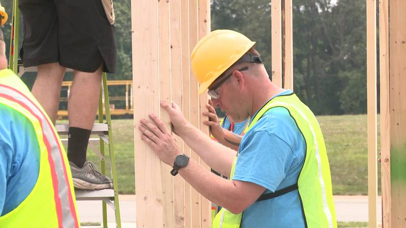Once the wall structures are completed, they will be transported to Goshen, where construction...