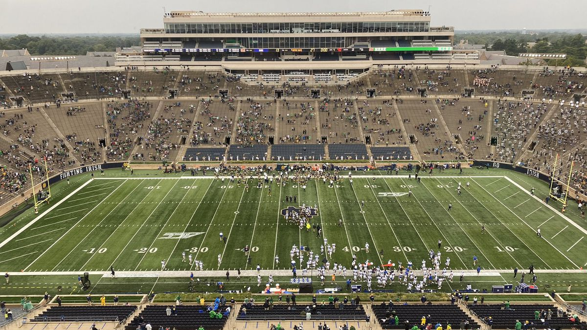 The victory was Notre Dame's 19th straight at home and the first for the Fighting Irish in a conference after 132 years as an independent.