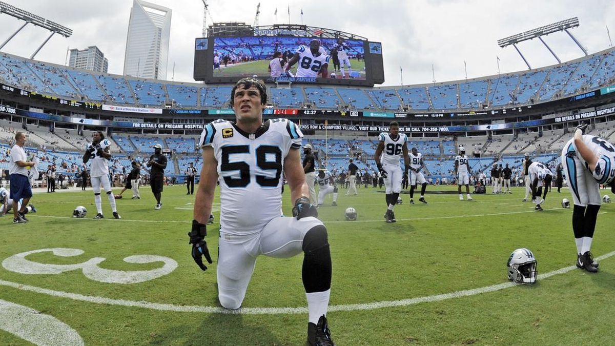 FILE - In this Sept. 23, 2018, file photo, Carolina Panthers linebacker Luke Kuechly (59) warms up before an NFL football game against the Cincinnati Bengals in Charlotte, N.C. With today's volcanic offenses, can't-hit-'em-too-hard rules and befuddled officials, linebackers aren't snarling 250-pound thumpers starring in running backs' nightmares anymore. (AP Photo/Mike McCarn, File) (Source: Mike McCarn)