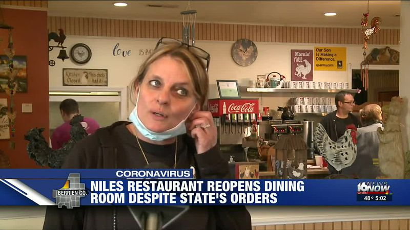 Niles restaurant reopening dining room despite state's orders