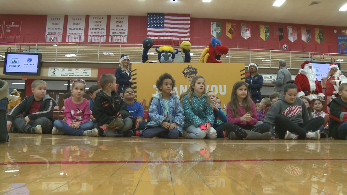 """Indiana Pacers donate over 1,000 toys to Plymouth Community Schools as part of their annual """"Basketballidays"""" toy drive giveaway event."""