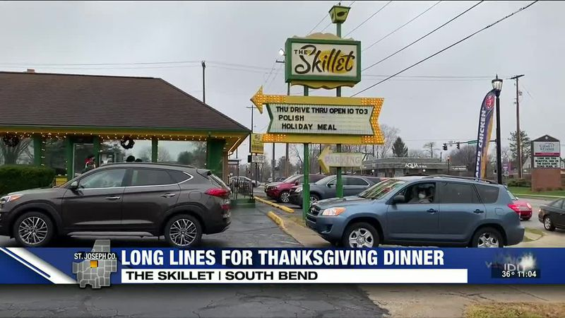 A long line could be seen in South Bend as people awaited to get their turkey dinner from The...