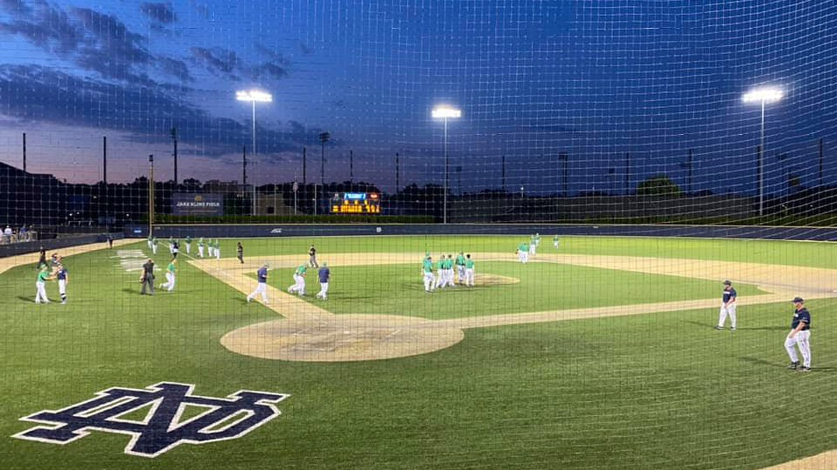 Notre Dame celebrates after scoring 26 runs against UConn in the South Bend Regional topping...