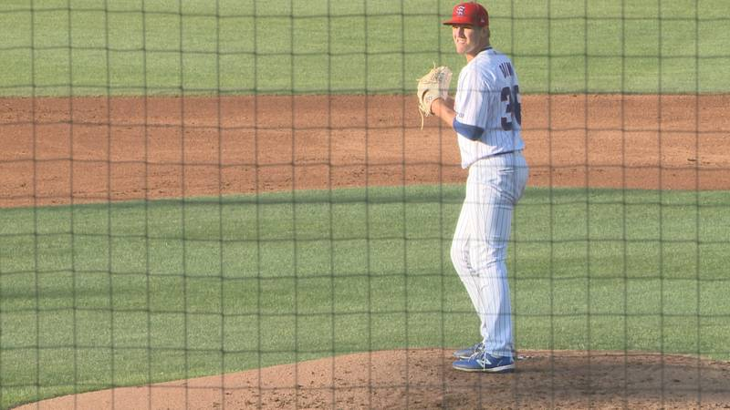South Bend Cubs pitcher Max Bain on the mound at Four Winds Field in a match up against Fort...