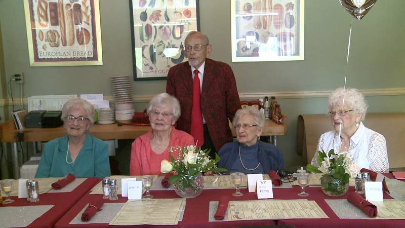 Paul Thomas presided over a class reunion attended by himself and four surviving classmates...