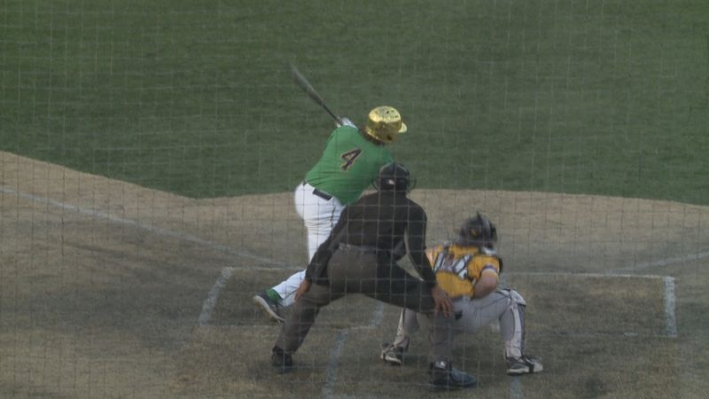 Carter Putz singles in the eighth inning against Central Michigan.