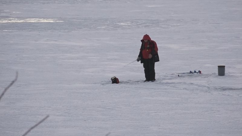 People took advantage of frozen Stone and Diamond Lakes in Cassopolis Tuesday.