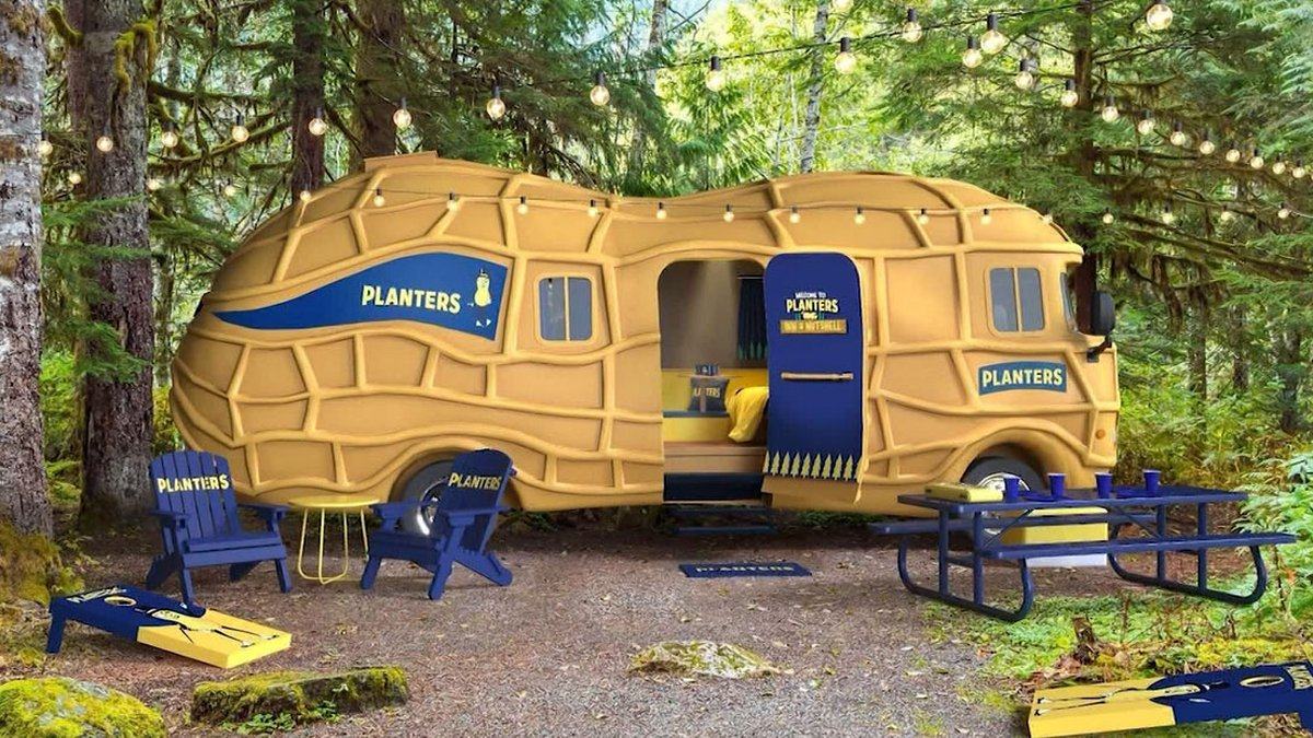 """Mr. Peanut is renting out Planters' """"NUTmobile"""" to one fan."""