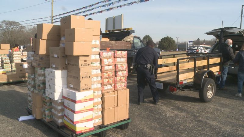 Thousands of dollars worth of food is being given to several food pantries throughout Cass...