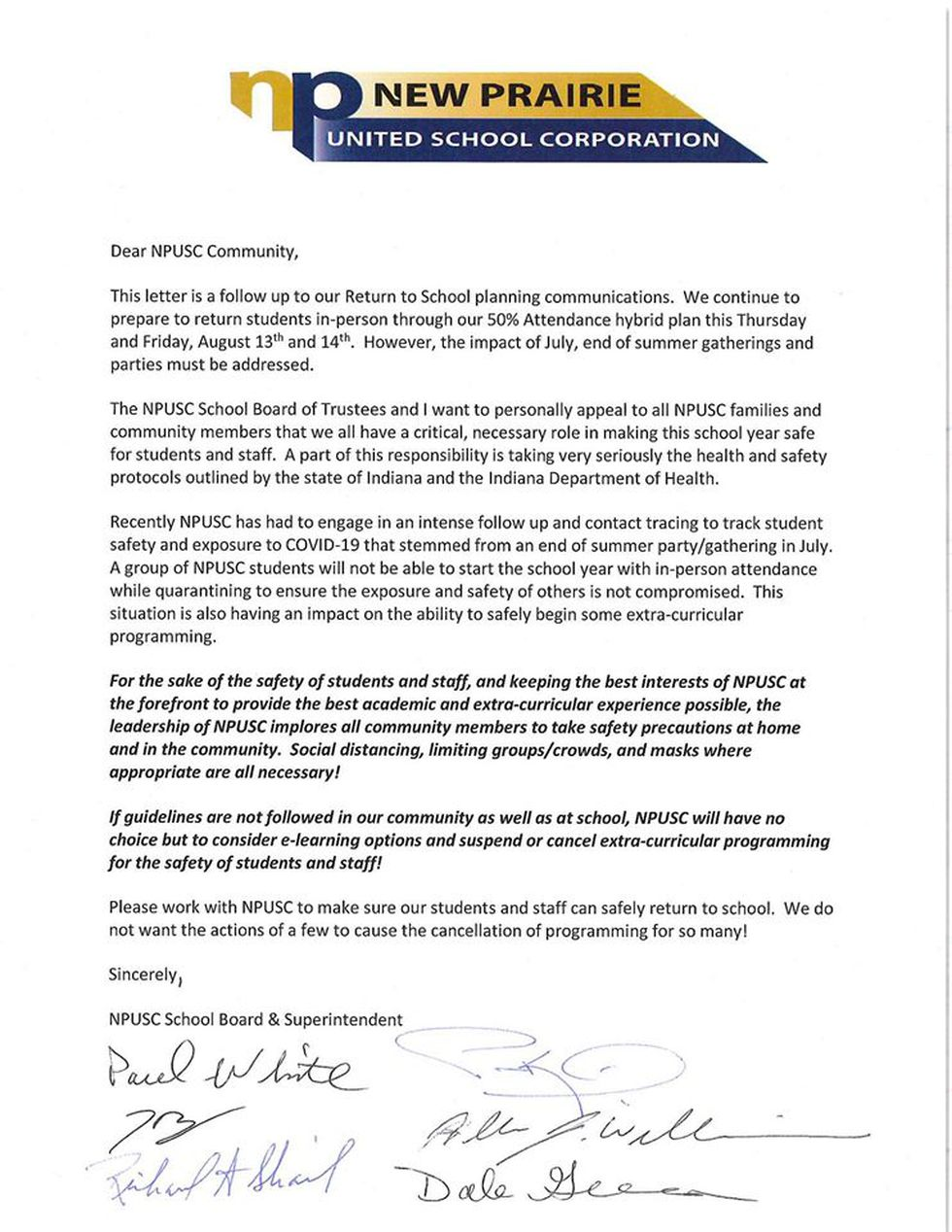 Letter to New Prairie Community