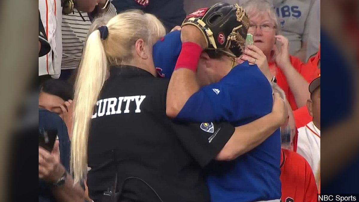 A child was hit by an Albert Almora Jr. foul ball during an Astros-Cubs game. Almora was shown being consoled by a security officer at Minute Maid Park between innings. (Photo: NBC Sports)