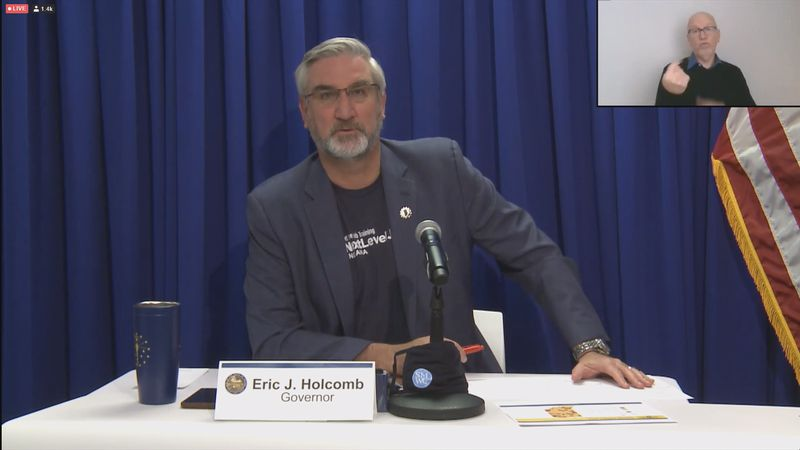 Indiana Gov. Eric Holcomb hosts a conference on the state's coronavirus response.