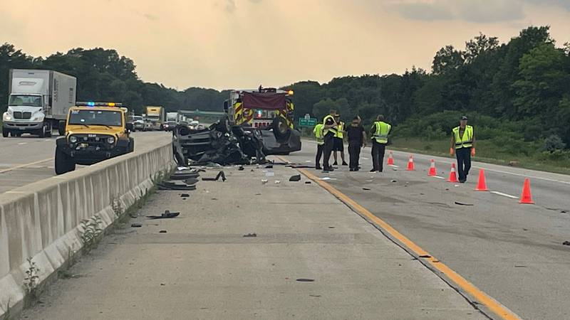 Crews respond to a car accident on the bypass near Elm Road.
