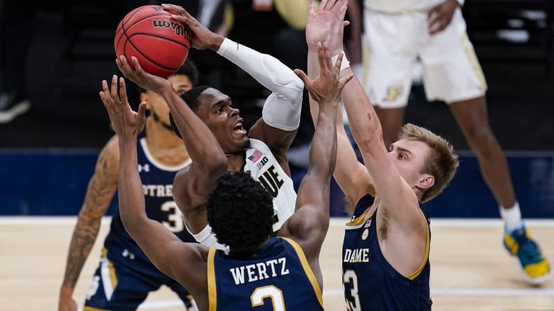 Purdue guard Brandon Newman (5) shoots over Notre Dame guards Trey Wertz (2) and Prentiss Hubb...