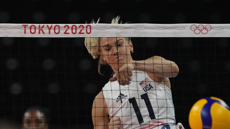 United States' Andrea Drews during the women's volleyball preliminary round pool B match...
