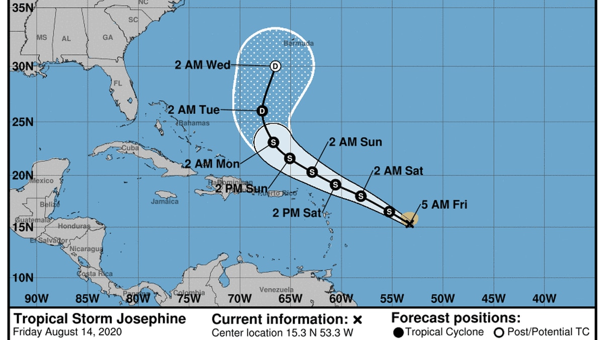 Josephine is just barely holding on to its tropical storm status as it moves over the Atlantic...