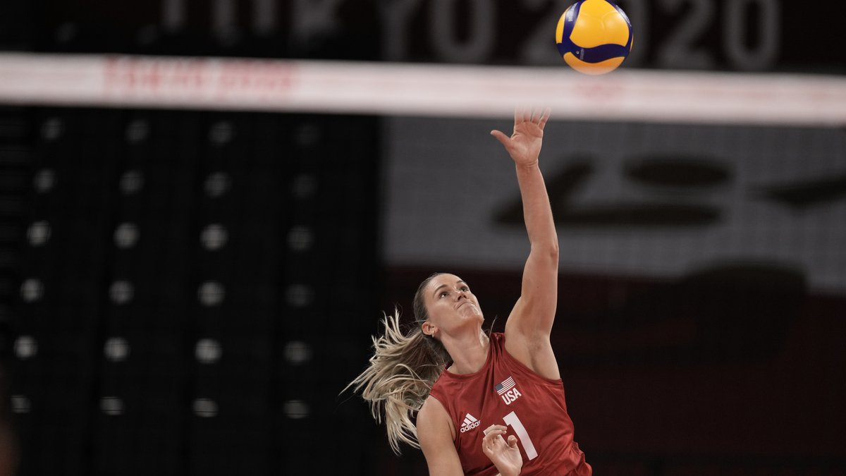 Annie Drews goes for the kill against Turkey in Pool Play at the 2021 Tokyo Olympics.