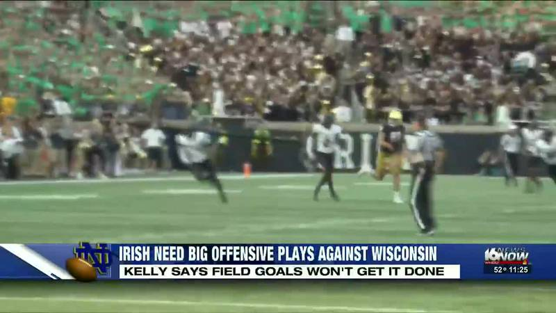 Head Coach Brian Kelly says he needs explosive offensive plays on Saturday and can't just...