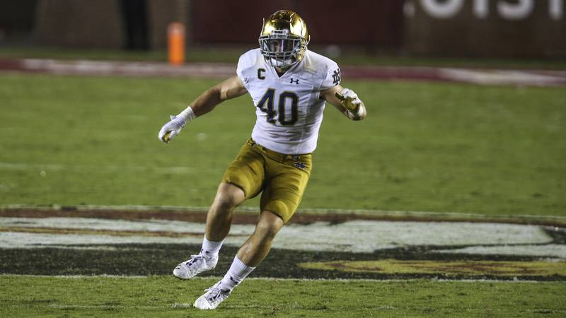 Notre Dame linebacker Drew White (40) during the second half of an NCAA football game against...