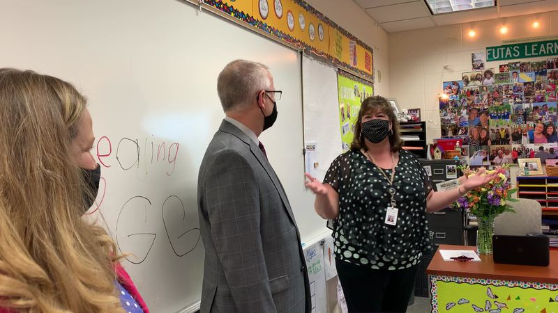 Robyn Futa teaches third graders at Beiger. She was surprised with the news this morning.