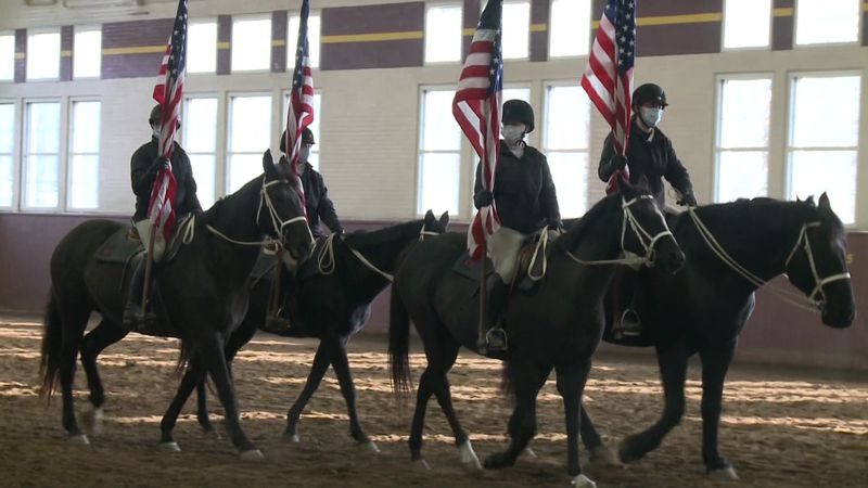 Culver Academy students practice riding for the virtual inauguration parade.