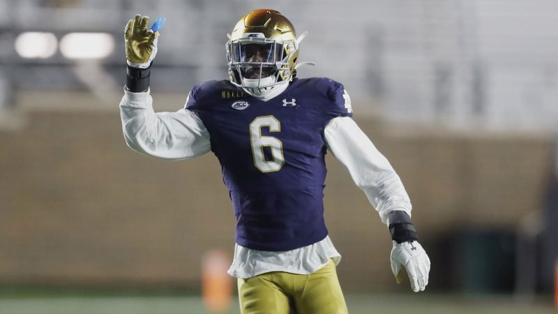 Notre Dame linebacker Jeremiah Owusu-Koramoah plays against Boston College during the second...