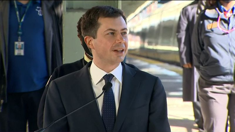 Buttigieg met with transit and rail workers at Washington D.C.'s Union Station.