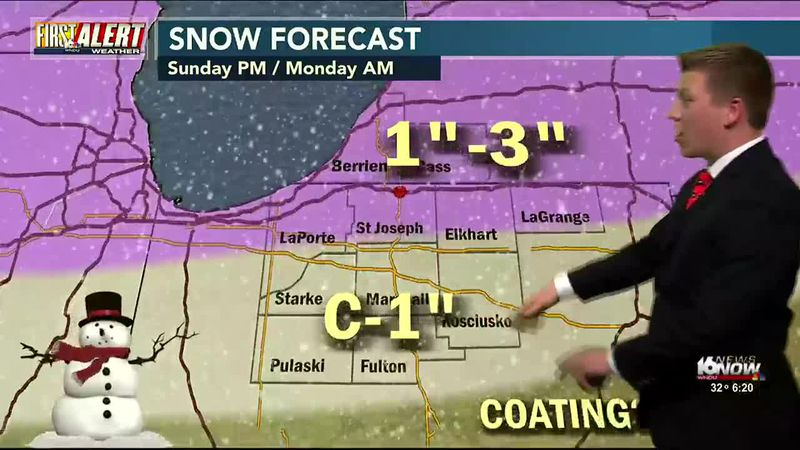 A rain/snow mix moves into Michiana and could create some slick spots early Monday morning....