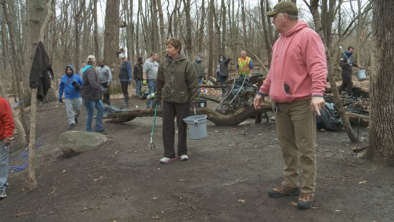 Community leaders clean up encampments by Portage Manor