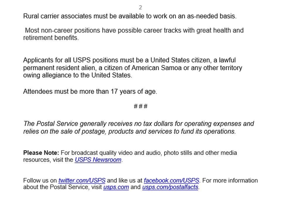 USPS Job Postings