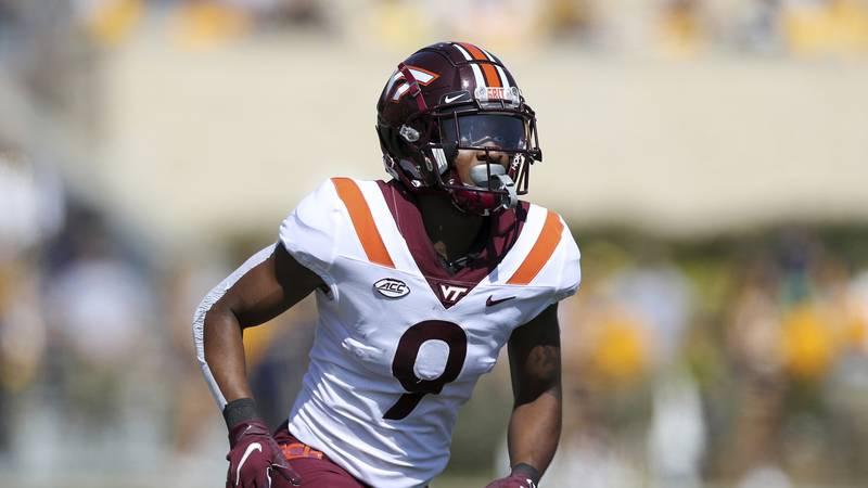 Virginia Tech's Tayvion Robinson #9 in action against West Virginia during an NCAA football...