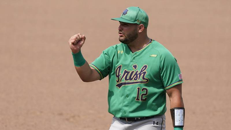 Notre Dame infielder Niko Kavadas (12) gives his pitcher support as he strikes out a...