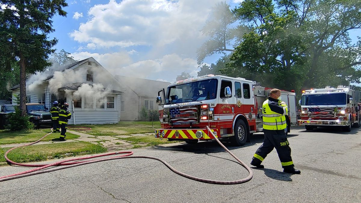 Firefighters respond to a house fire near Leer and Fox on July 2, 2020.
