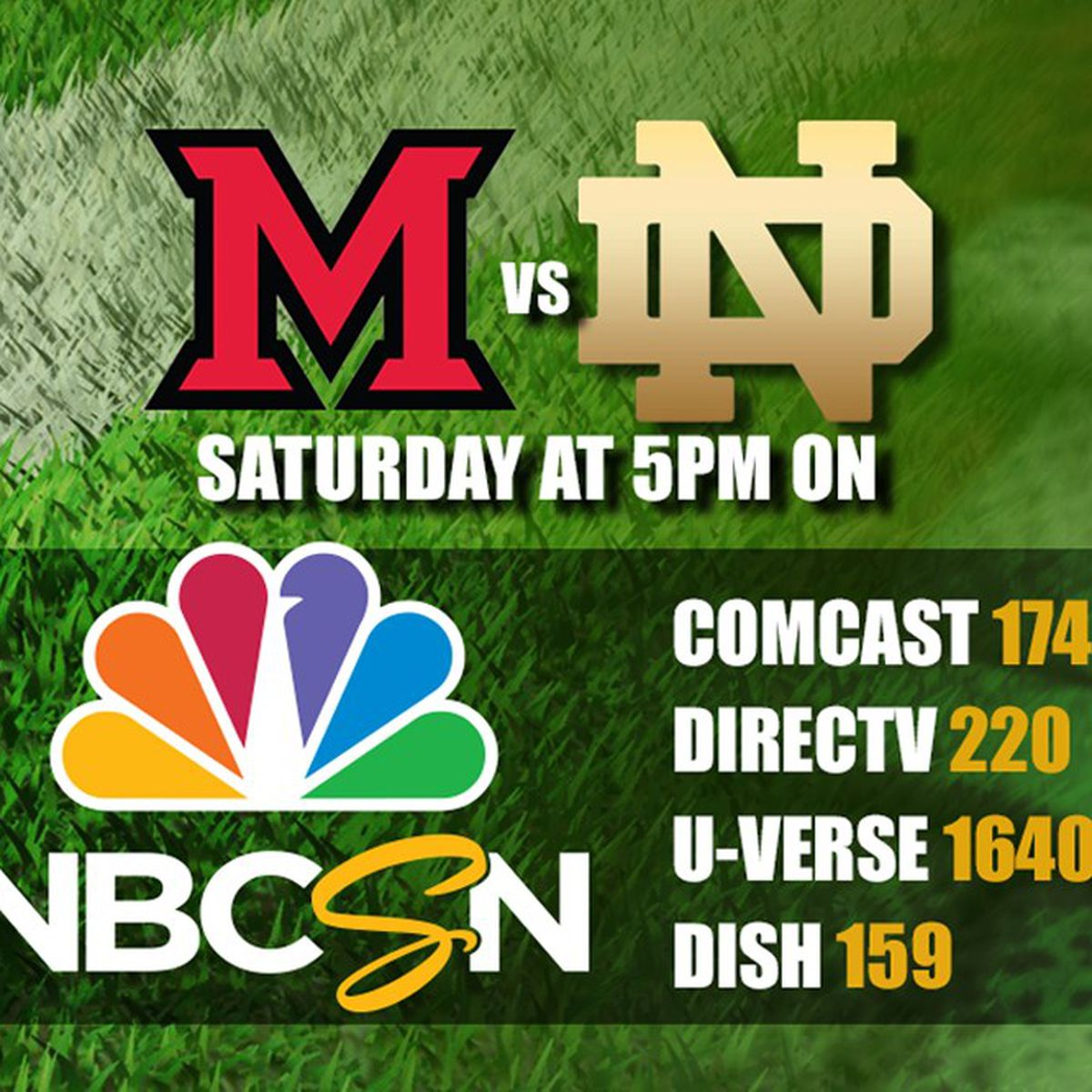 Notre Dame Vs Miami Ohio Game Saturday To Air On Nbcsn Not Wndu